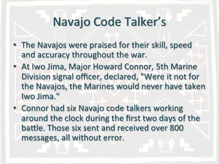 navajo code talkers chapter summary Code talker ch 8 - 15 answer key what was the responsibility of the code talkers use the navajo language to creat a new code to be used in the war.